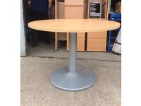 Office table 1m diameter Beechwood effect