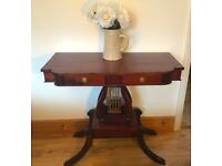 *CONSOLE TABLE* - VINTAGE ANTIQUE LYRE HARP SHAPE MAHOGANY HALLWAY DESK