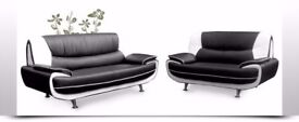 CHEAPEST PRICE AND FINEST QUALITY--BRAND NEW CAROL 3 +2 SEATER SOFA ! RED AND BLACK OR WHITE & BLACK