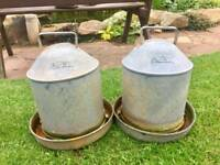 2x galvanised poultry drinkers