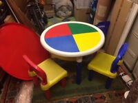 Lego construction table and 2 x chairs