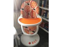 OPEN TO OFFERS Cosatto 3sixti highchair orange gas lift reclines excellent conditon