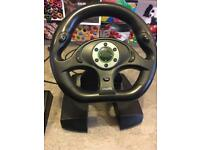 X Box 360 Motorforce steering wheel and pedals