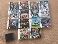 14 Nintendo ds games, also compatible with 3ds console and game card holder