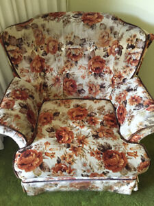 Floral vintage couch and armchair