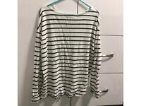 A stripe long T-shirt and a jean,size S-M