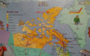 Still sealed: 1980s Canadian Airlines Route Puzzle Map