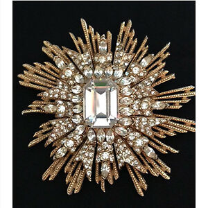 Vintage signed Kenneth Jay Lane Art Deco sunburst brooch