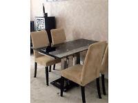 Pavia Extending Glass Chrome Dining Table