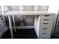 IKEA WHITE DESK C/W DRAWERS