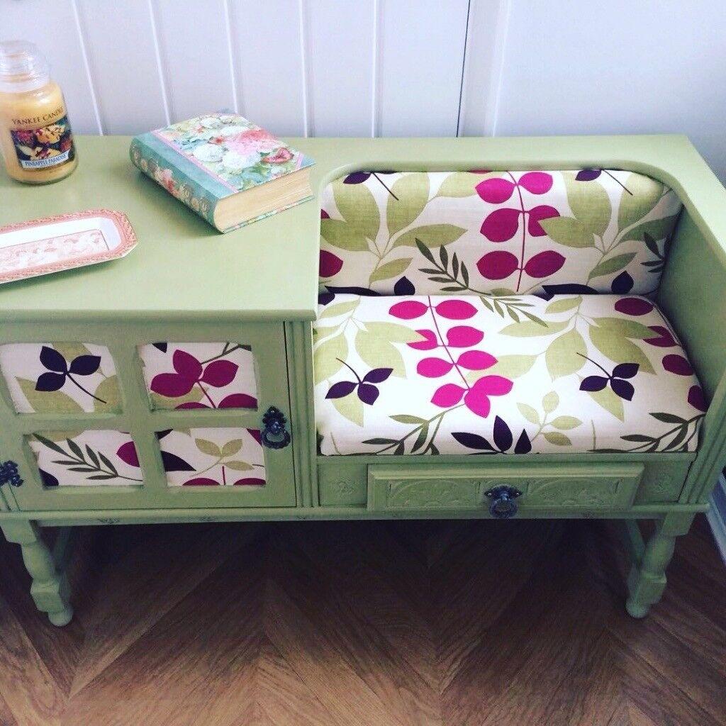 Telephone Table Retro Orla Kiely Inspired Original Upcycled