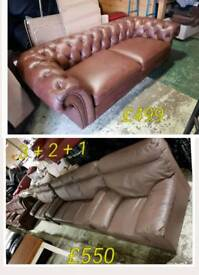 Brown leather chesterfield