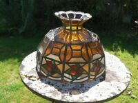 Vintage / antique Tiffany style ornate heavy coloured & patterned leaded glass lightshade