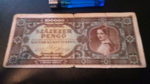 1945 Budapest 100,000 Szazezer Pengo Note