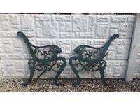 Vintage cast iron bench ends / garden furniture / patio furniture / outdoor furniture / Salvage cast