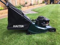 Hayter Hawk petrol push mower with rear roller for great stripes.