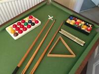 Snooker Table, balls and cues