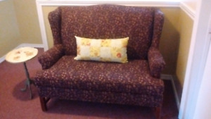 Vintage High Back Chippendale Paisley Settee