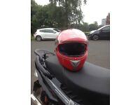 Red motorbike helmet