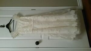 Size 8 Tea Length Ivory Wedding Dress