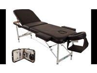 Black leather Massage table,