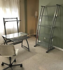 Glass Desk, shelf and chair set
