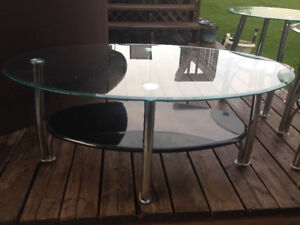 Glass coffee & end tables for sale