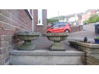 2 stone garden pedestal and plinths