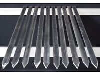 Turkish bbq kebab skewers flat stainless steel,size:3mm thick x 21mm wide x 450mn long