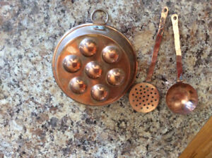 Mini Swedish munkpanna pan with utensils (copper)