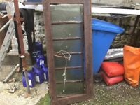 "ORIGINAL ANTIQUE/VINTAGE cast iron skylight. 61.5 by 26"". Crack on frame but great garden feature."