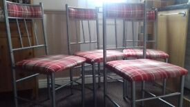 4 Kitchen Dining Room Chairs Red Tartan