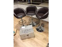 3 used bar stools in good condition and 1 brand new