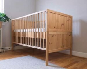 Natural Wood IKEA Crib-converts to toddler bed
