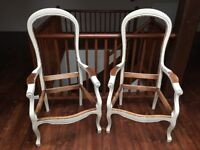 Pair of Louis Philippe Voltaire Style French Beechwood Chairs for Re-upholstery
