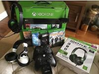 xbox one 500gb 4 games 2 controllers 2 headsets charging station good condition