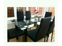 STUNNING GLASS BLACK DINING TABLE SET AND 6 FAUX LEATHER CHAIRS| New sealed