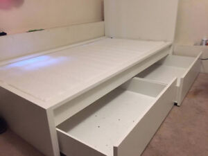 IKEA High Bed frame with 2 storage free mattress and pillow