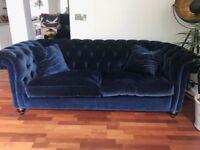 Duresta Velvet Chesterfield Sofa in Royal Blue La Scala. Bought in Harrods in 2015. Mint Condition.
