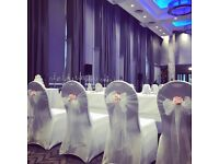 Wedding and event decor including chair covers, centrepieces, post box, aisle decor and bay trees
