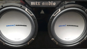 "TWO 12"" MTX JACKHAMMER SUBWOOFERS AND BOX"