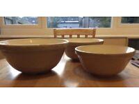 *** Three Vintage Ceramic Mixing Bowls ***