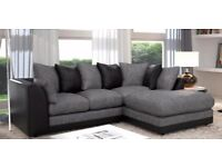 ==FLAT 40%==Brand New Byron Jumbo Cord 3+2 SEATER/Conrner Sofa in black&grey/brown&beige Color