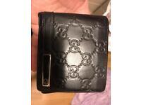 genuine gucci black leather wallet for men