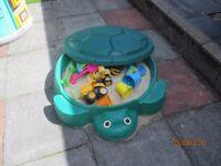 Little Tikes turtle sandpit, cozy coupe & trike