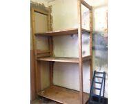 Wooden shelves / racking for garage / workshop .comes apart for transportation .