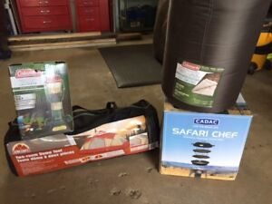 TENT, GRILL, LANTERN & SLEEPING BAG! ALL NEW!!!