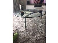 Glass circular coffee table 1 metre