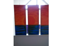 Sunset painting Abstract Art, Pop Art funky sun set painting on 3 x canvasses approx 80x20cms each