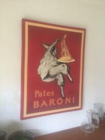 Large mounted fabric print Pâtes Baroni